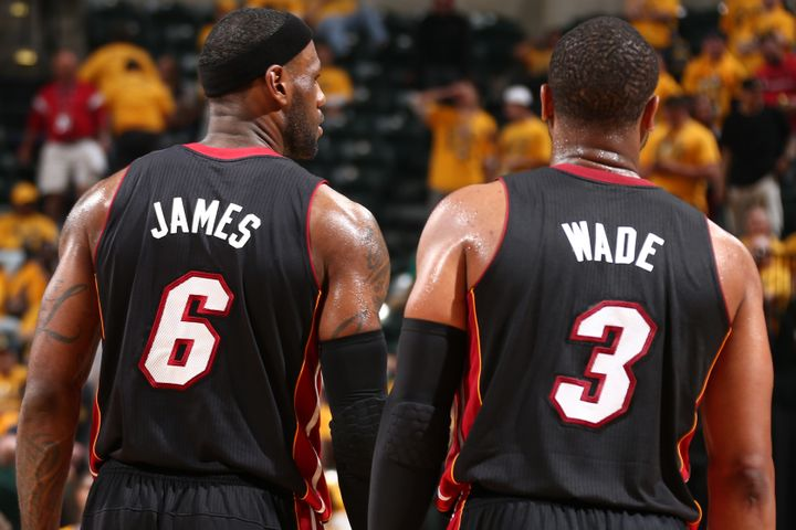 LeBron James and Dwyane Wade back when they were teammates onthe Miami Heat.