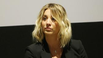 SANTA MONICA, CALIFORNIA - MARCH 18:  Kaley Cuoco speaks onstage during the Q & A during the Los Angeles premiere of Monterey Media Inc.'s 'Burning Bodhi' held at Laemmle Monica Film Center on March 18, 2016 in Santa Monica, California.  (Photo by Michael Tran/FilmMagic)