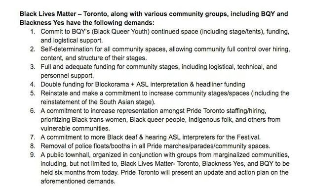 Black Lives Matter Toronto Stands By Pride Parade
