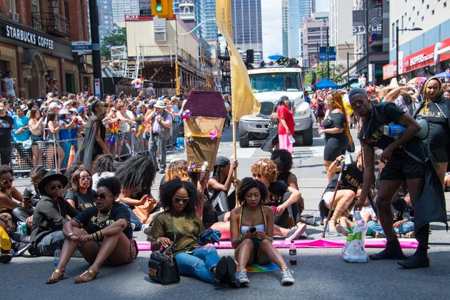 Members of Black Lives Matter Toronto staged a sit-in at the 2016 Pride