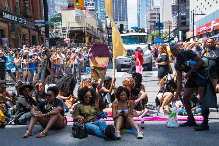 Members of Black Lives Matter Toronto staged a sit-in at the 2016 Pride Parade.