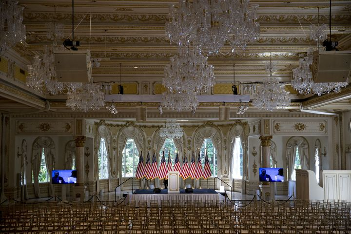 A glimpse into the Mar-a-Lago ballroom where the Trumps wed. Here it is set up for a Trump news conference in 2016.