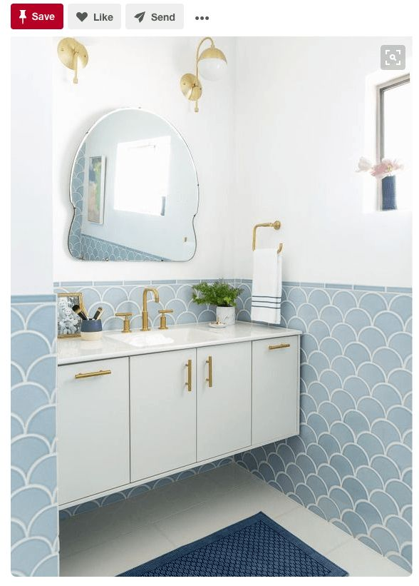 """<a href=""""https://www.pinterest.com/pin/55028426675645174/"""" target=""""_blank""""> This blue, white, and gold combo is very soothing"""