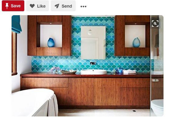"""<a href=""""https://www.pinterest.com/pin/102386591507353254/"""" target=""""_blank"""">The cool blues play off the warm wood tones in th"""