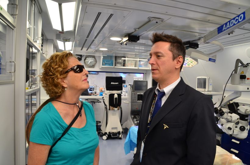 Ann Humphries talks with Dr. Antonio Jaramillo, MD and Head of Ophthalmology for the ORBIS Flying Eye Hospital in the Operati