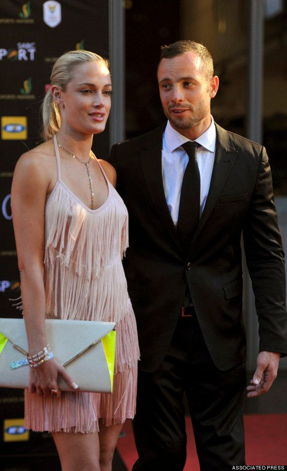 Oscar Pistorius and Reeva Steenkamp at an awards ceremony, in Johannesburg in