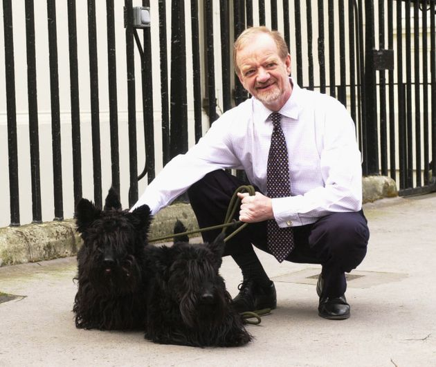 Robin Cook with his dogs Tammy and Tasker died in