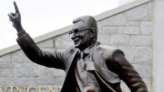 Joe Paterno's statue outside of Beaver Stadium is seen on January 22, 2011, in State College, Pennsylvania. A news conference addressed the results of Louis Freeh's investigation into the Jerry Sandusky scandal, Thursday, July 12, 2012, at the Scranton Hilton in Scranton, Pennsylvania. (Abby Drey/Centre Daily Times/MCT via Getty Images)