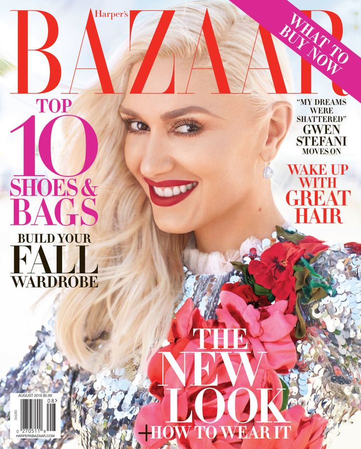 Stefani on the cover of the Harper's Bazaar August 2016 issue.