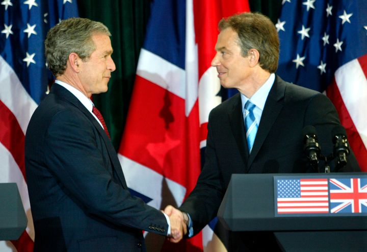President George W. Bush and British Prime Minister Tony Blair in April, 2003. The  the inquiry said that Blai