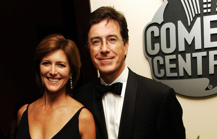 Stephen Colbert with his wife, Evelyn.