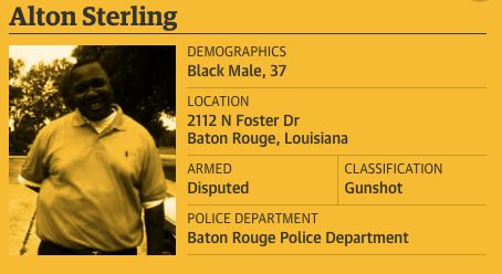 Sterling's entry in The Counted includes information on where and how he died.
