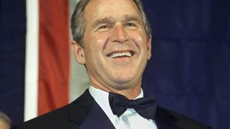President-elect George W. Bush smiles and laughs during the Wyoming State Society reception January 19, 2001 at the U.S. Chamber of Commerce in Washington. Bush will be inaugurated as President of the United States in ceremonies January 20.  JRB/RCS