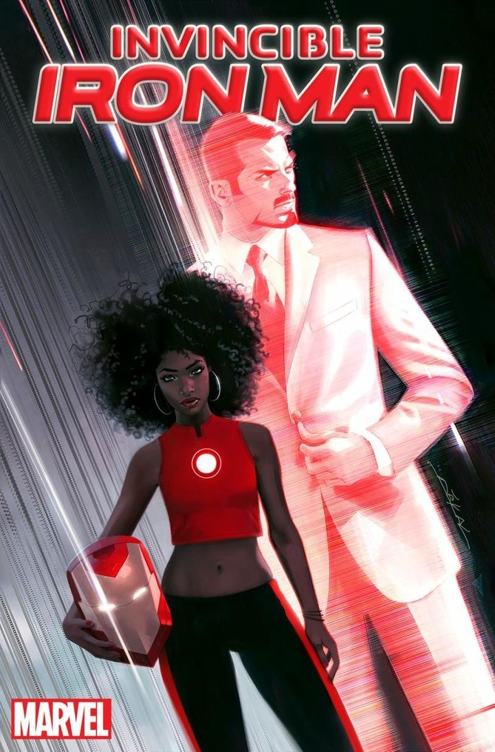 Riri Williams and Tony Stark on the cover of