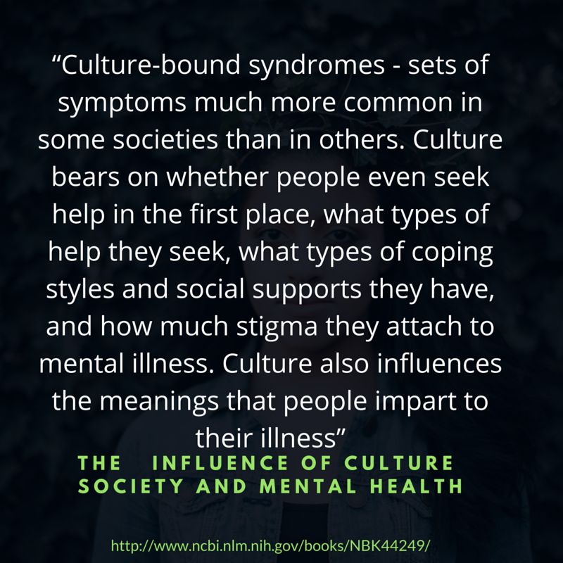 "<a href=""http://www.ncbi.nlm.nih.gov/books/NBK44249/"" target=""_blank"">The Influence of Culture and Society on Mental Health.<"