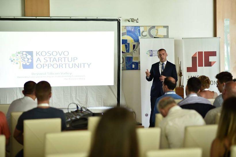 <i>Jakova Innovation Center Executive Director Fatos Axhemi providing an overview of the Kosovo: A Startup Opportunity projec