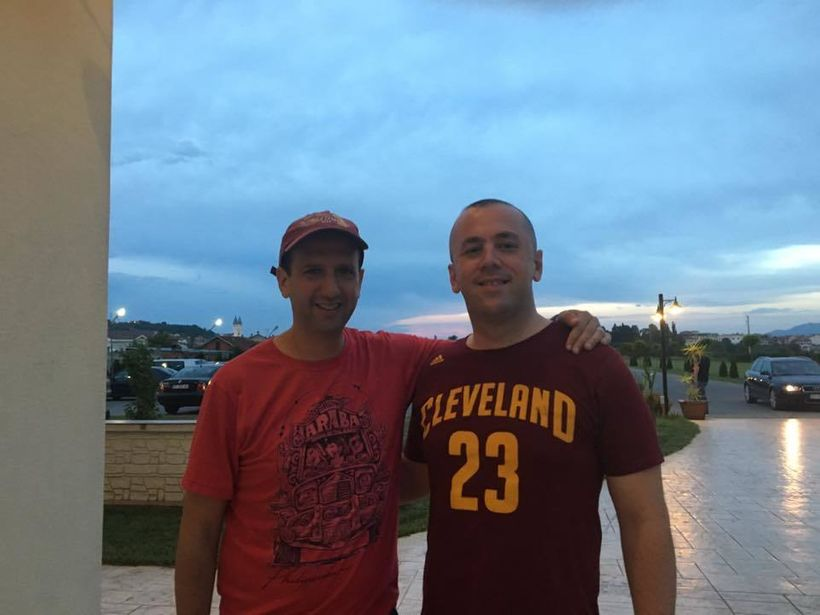 <i>Michael Goldberg and Fatos Axhemi celebrating the Cavs victory</i>