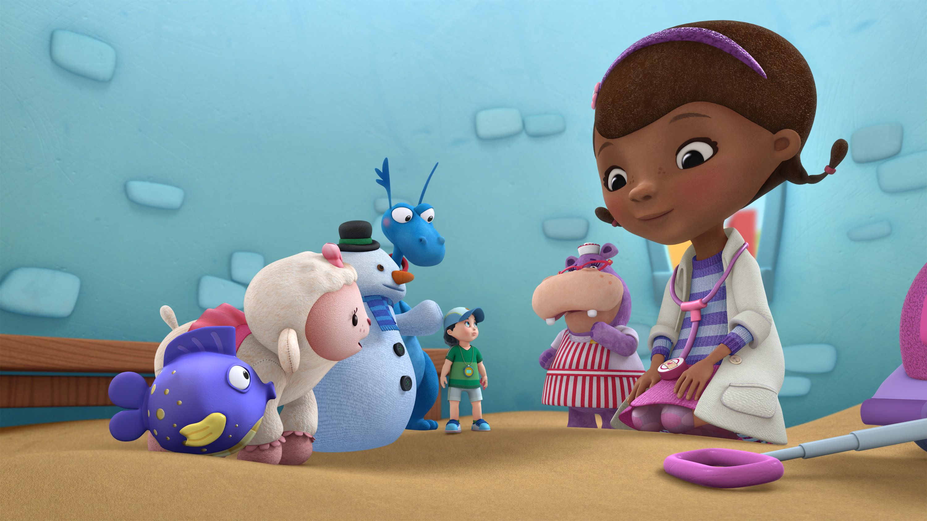 DOC MCSTUFFINS - 'Getting to the Heart of Things' - After Doc discovers that Coach Kay, a small plastic doll in a track suit, has a crack in her whistle valve, she takes her to the clinic to perform 'surgery' to replace the valve. This new episode of 'Doc McStuffins' premieres Friday, March 13 (10:20 AM - 10:50 AM ET/PT) on Disney Junior. (Image by Disney Junior via Getty Images)