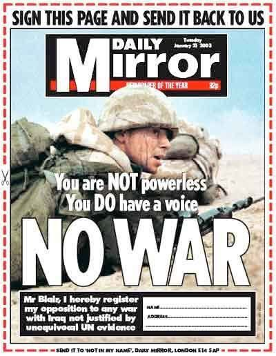 The Mirror's January 23 2003 front