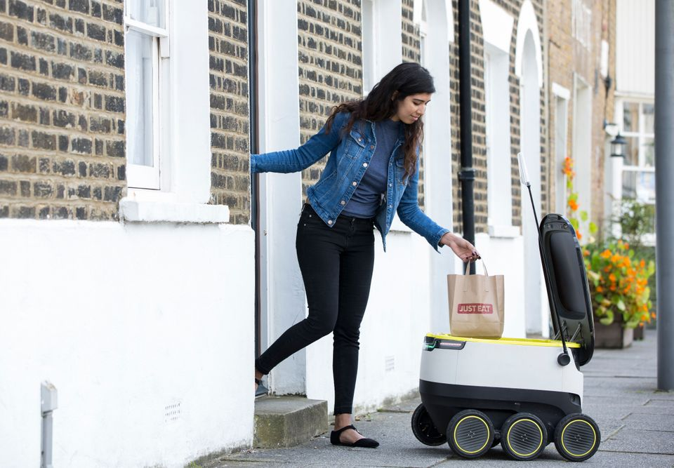 JUST EAT pilots a Starship robot to deliver food from its takeaway restaurants on July 5, 2016 in London, England.