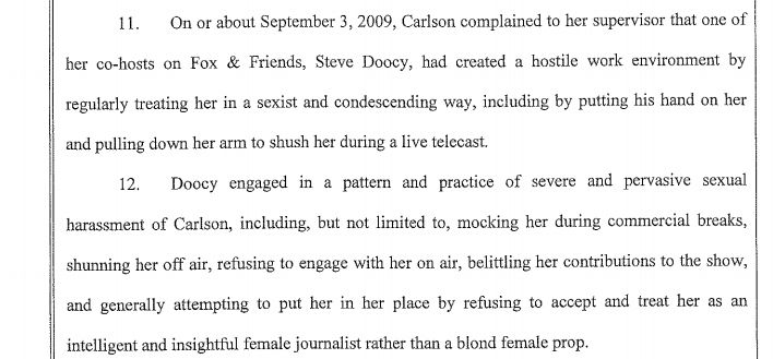 An excerpt from Carlson's lawsuit describes the hostile work environment allegedly created by Fox host Steve Doocy.