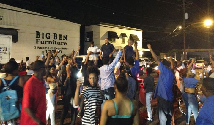 People protest after Alton Sterling, 37, was shot and killed during an altercation with two Baton Rouge police officers in Baton Rouge, Louisiana, U.S. on July 5, 2016.