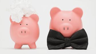 Studio shot of piggy banks dressed up as bride and groom