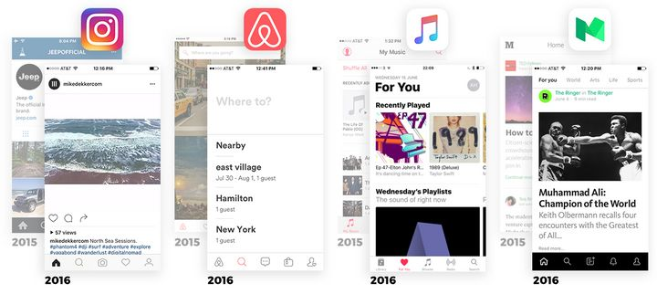 Instagram, Airbnb, Apple Music and Medium iOS apps have followed a similar blueprint in recent redesigns.