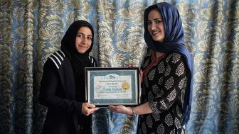 Kabul, Afghanistan, March 2016 Afghan female journalists receive training during the inaugural round of Sahar Speaks. The initiative by Amie Ferris-Rotman provides training, mentoring and publishing opportunities for a global audience. Photo: Joel van Houdt