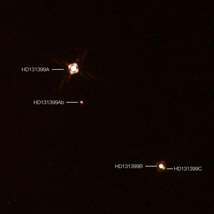This annotated composite image shows exoplanet HD 131399Ab in the triple-star system HD 131399. The image of the planet was o