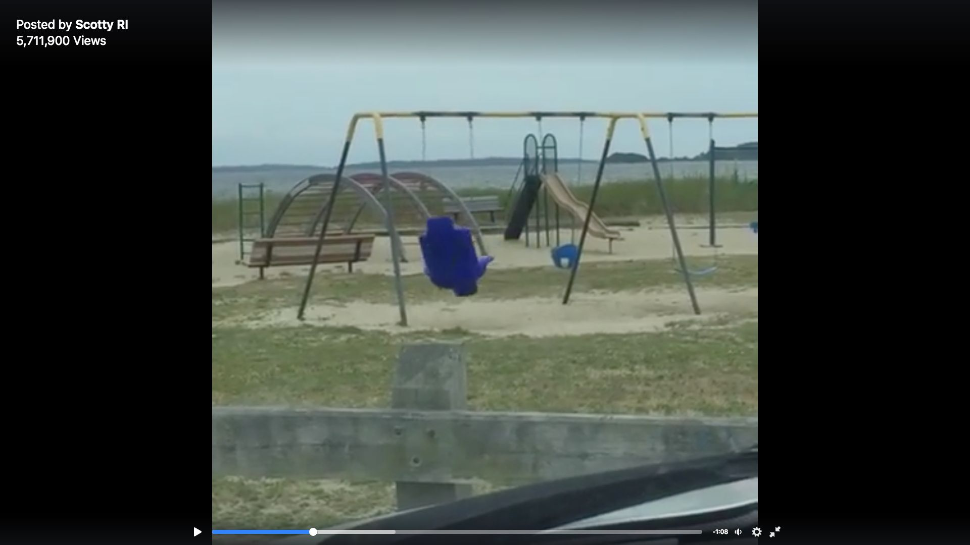 A viral video shows a single swing being tossed around at a Rhode Island park, leading some to suggest that it's the work of a ghost.