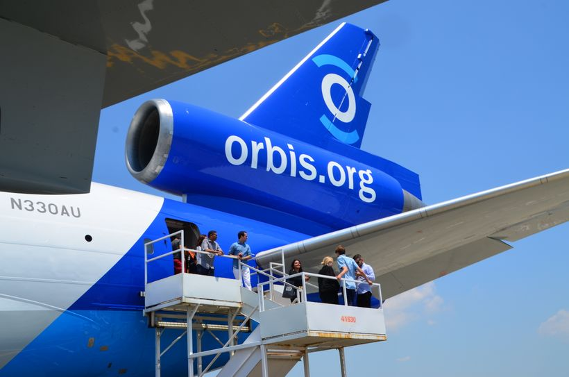 Visitors tour the new Flying Eye Hospital at Newark Liberty International Airport.