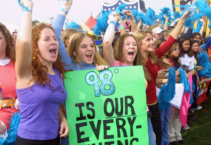 98 Degrees fans waiting for the band to appear in Florida, 2001.