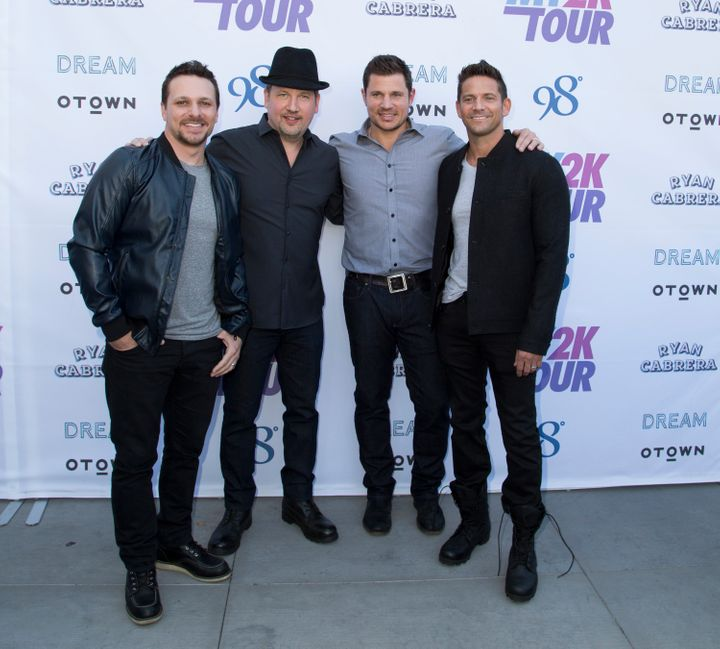 Drew Lachey, Justin Jeffre, Nick Lachey and Jeff Timmons attend the My2k tour launch with 98 Degrees, O-Town, Dream and Ryan