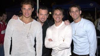 98 Degrees during 98 Degrees on FarmClub.com at Universal City Studios in Hollywood, California, United States. (Photo by L. Cohen/WireImage)