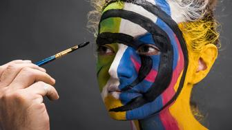 NEW YORK, NY - JULY 6:  Artist Andy Golub paints Sarah Zickel as a demonstration before World Body Painting day which will happen on July 9th in New York on Wednesday July 6, 2016. (Photo by Damon Dahlen, Huffington Post) *** Local Caption ***