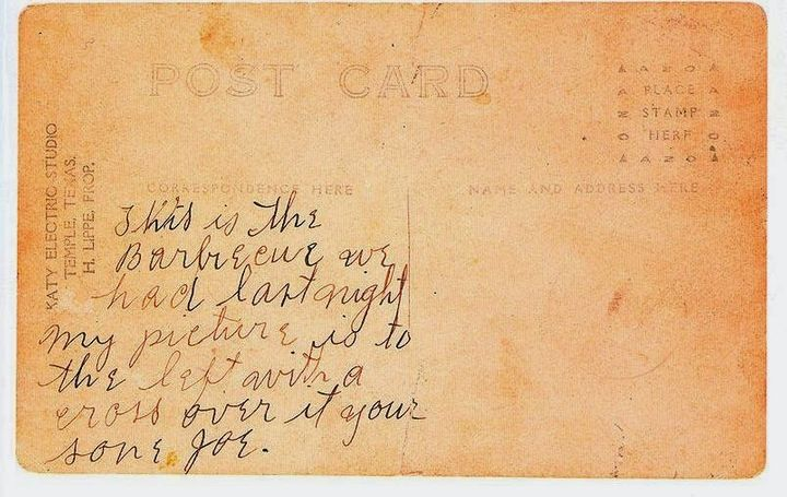 The back of a postcard of Jesse Washington's lynching.