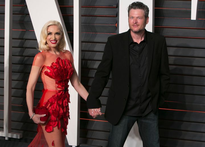 Gwen Stefani and Blake Shelton arrive to the 2016 Vanity Fair Oscar Party in Beverly Hills, California, on Feb. 28, 2016.