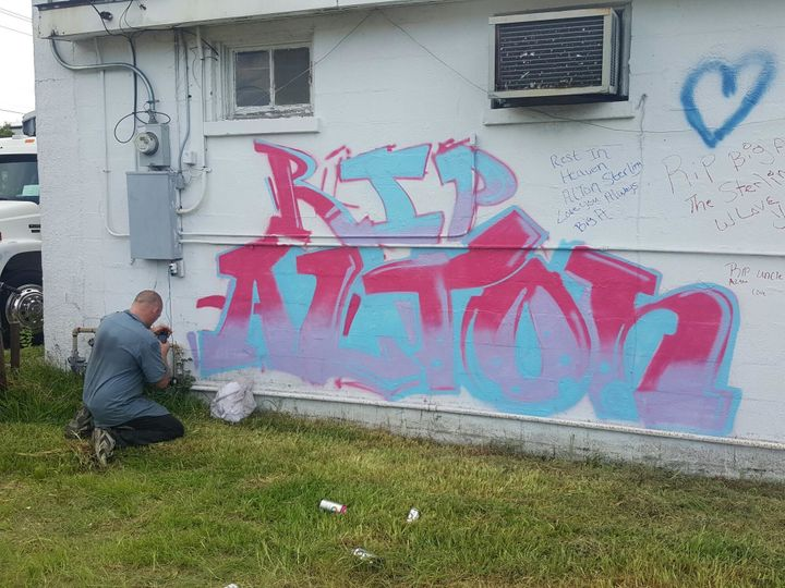 Artists created murals to honor Alton Sterling in Baton Rouge.