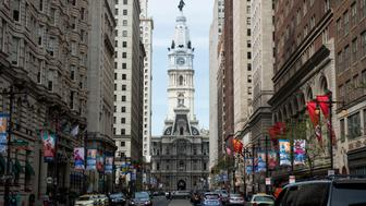 UNITED STATES - APRIL 19: City hall is seen from Broad Street in Philadelphia on Tuesday, April 19, 2016. The city will be hosting the 2016 Democratic National Convention in July. (Photo By Bill Clark/CQ Roll Call)