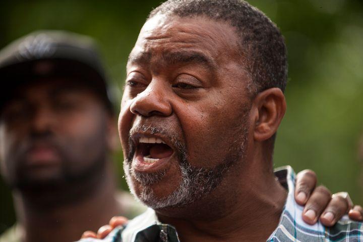 Clarence D. Castile, uncle of Philando Castile, speaks outside the Governor's Mansion.