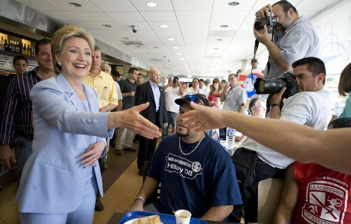 Hillary Clinton greets customers at a San Juan, Puerto Rico, bakery in 2008 during her first White House bid.