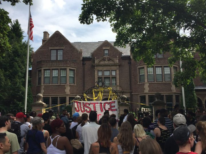 Protesters at the governor's mansion in St. Paul.