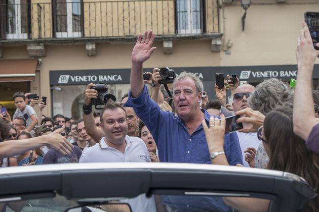 Jeremy Clarkson enjoys his victory lap in Vicenza in northern