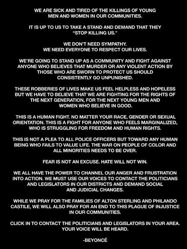 Beyoncé Shares Powerful Message After Police Shootings Of Alton Sterling And Philando
