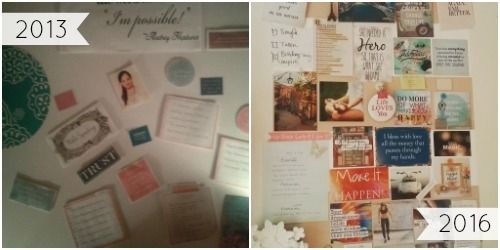 My first Vision Board in 2013 and my current one