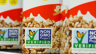 MONTPELIER, VT - MAY 25: Cereal on the shelves of the Hunger Mountain Coop is labeled as not containing GMO's, genetically modified organisms, on May 25, 2016 in Montpelier, Vermont. The Coop's mission is to provide healthy and nutritious food to its member-owners and the surrounding community. Vermont has a new law that as of July 1 is going to require companies to label (most) GMO products sold in the state. Its a huge flashpoint in the national GMO debate. The Coop was active in promoting the labeling law. (Photo by Melanie Stetson Freeman/The Christian Science Monitor via Getty Images)