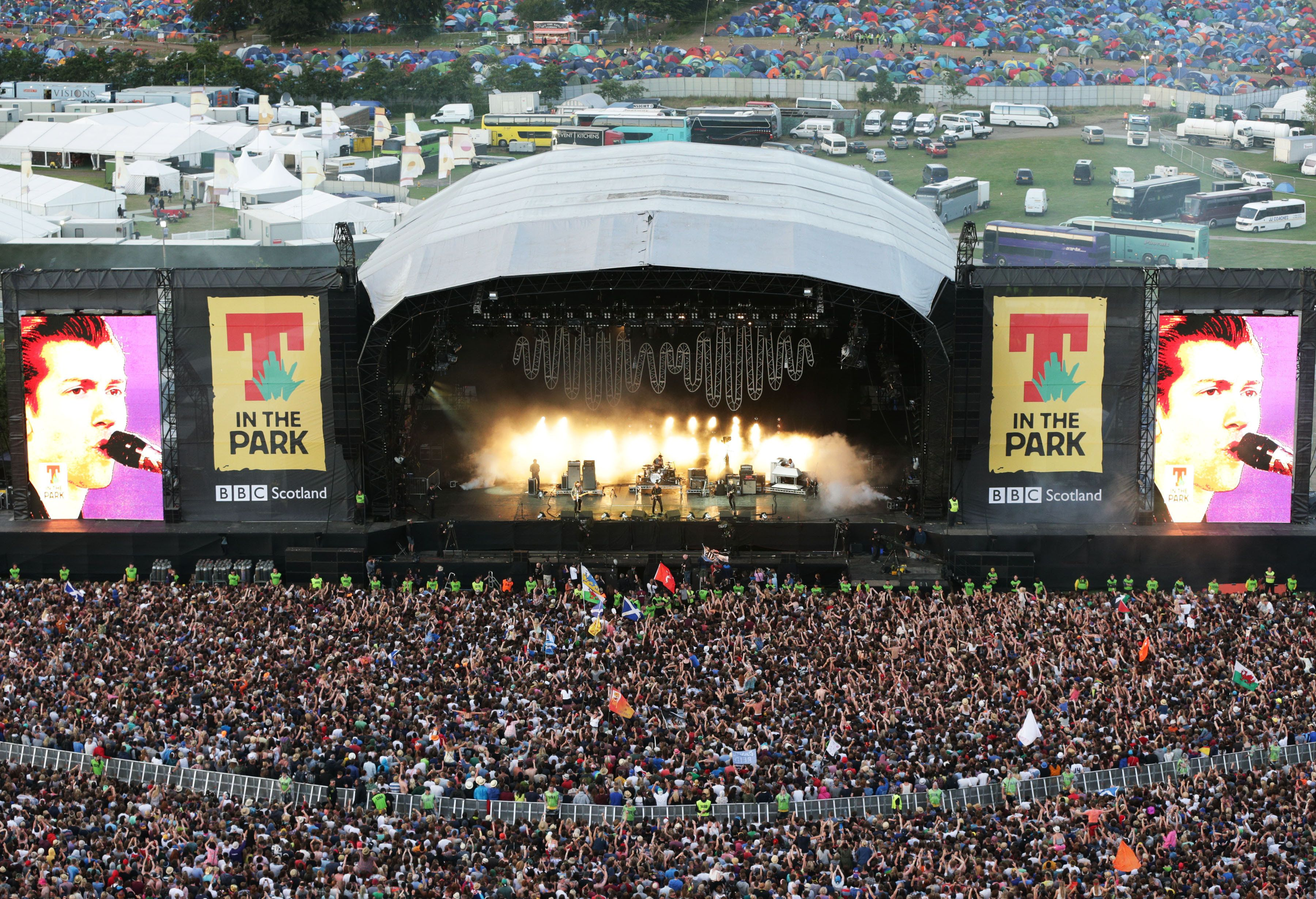 Police are investigating two 'unexplained' deaths at T in the Park in Scotland; pictured above is the...