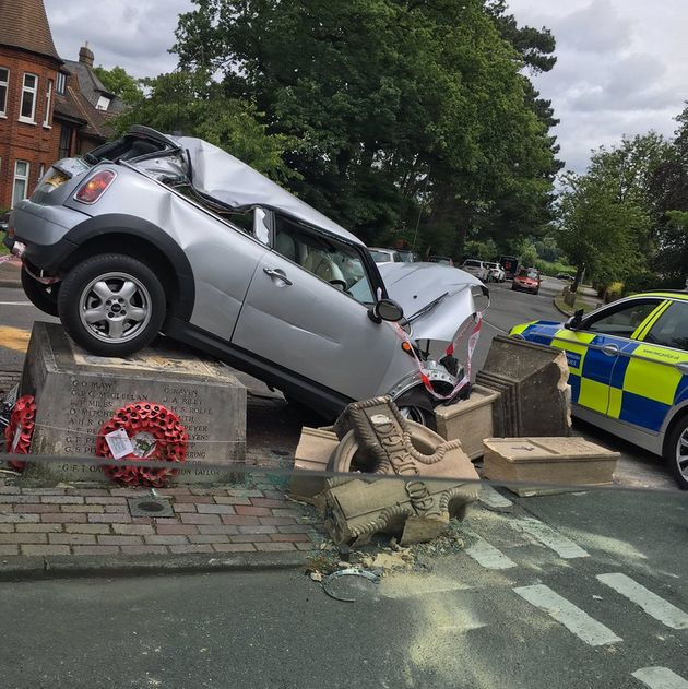 A car demolished the Shortlands War Memorial in Beckenham after a two-car collision on