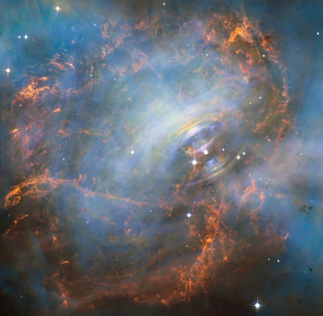 The Hubble Space Telescope's spectacular image of the Crab Nebula. Spinning 30 times a second, the...